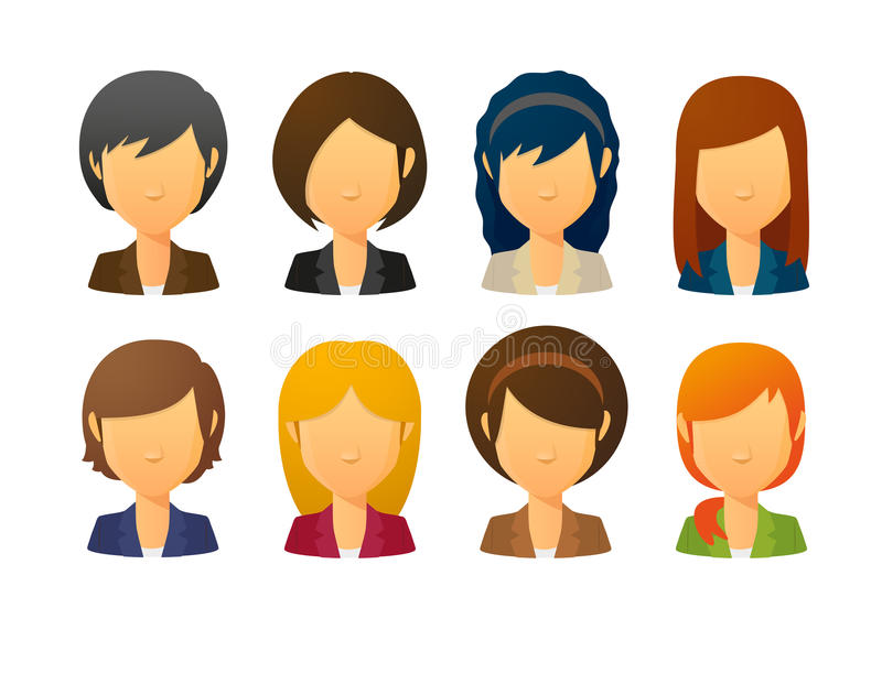 Faceless female avatars wearing suit with various hair styles. Set of faceless female avatars wearing suit with various hair styles vector illustration