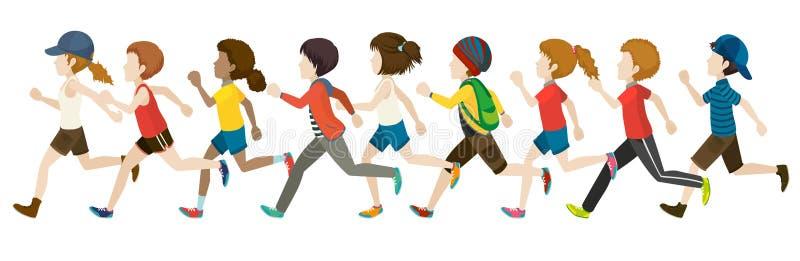 Faceless. Flashcard of faceless kids in running pose royalty free illustration