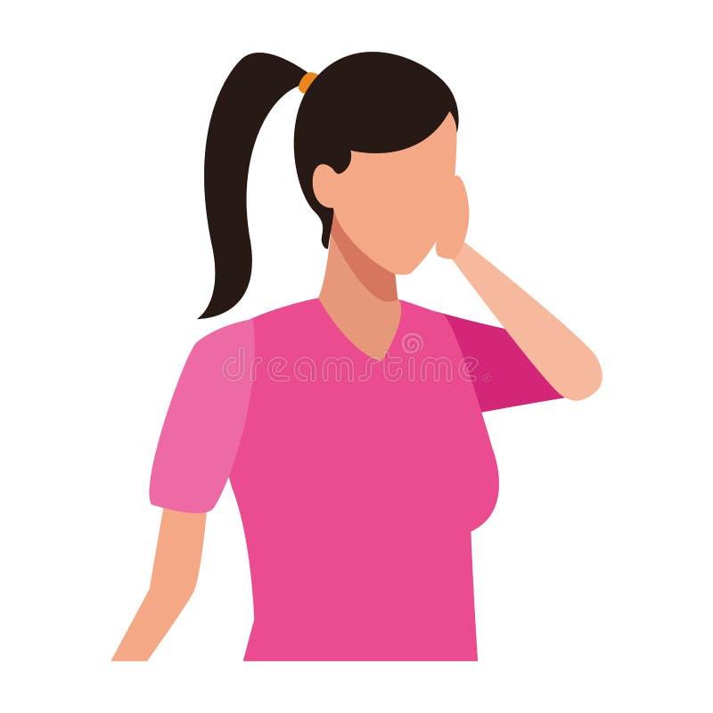 Faceless girl bored. Vector icon illustration graphic design stock illustration