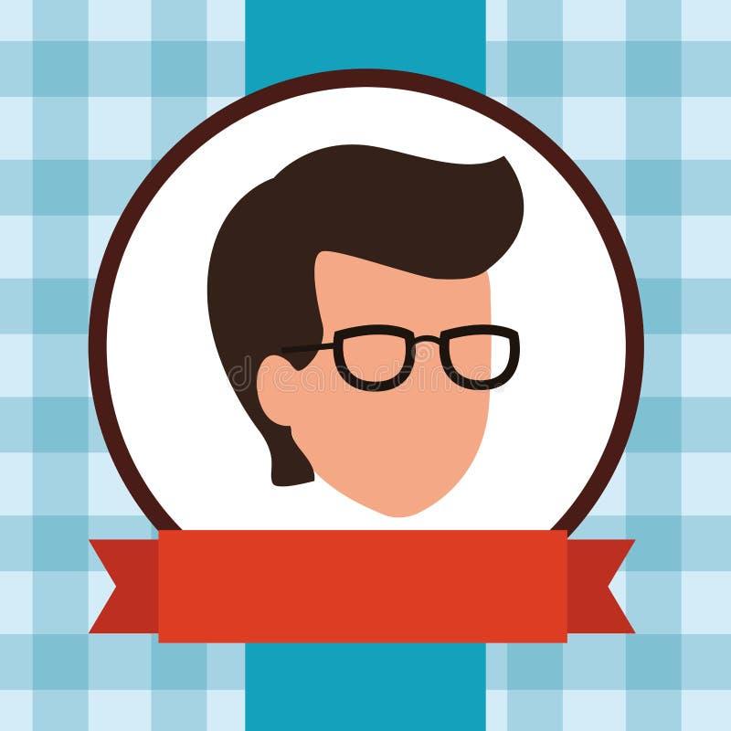 Faceless guy glasses banner. Vector illustration graphic design stock illustration