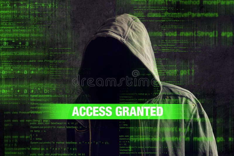 Faceless hooded anonymous computer hacker. Access granted to Faceless hooded anonymous computer hacker with programming code from monitor stock illustration