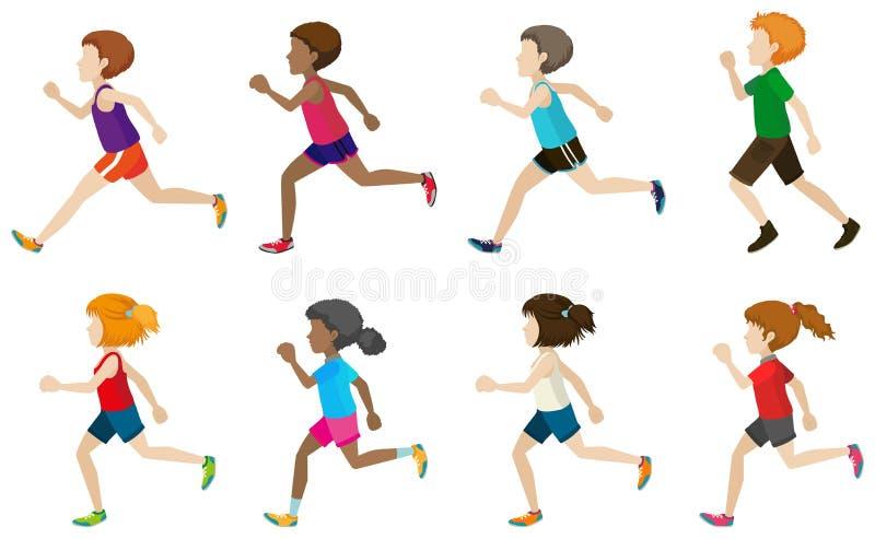 Faceless kids running. On a white background vector illustration