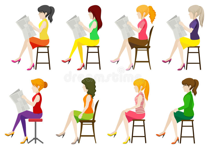 Faceless ladies sitting down. On a white background stock illustration