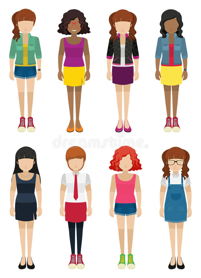 Faceless ladies. On a white background royalty free illustration