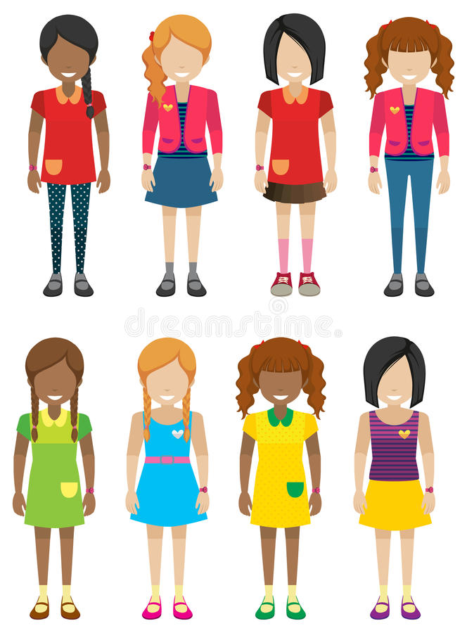 Faceless little girls without faces stock illustration