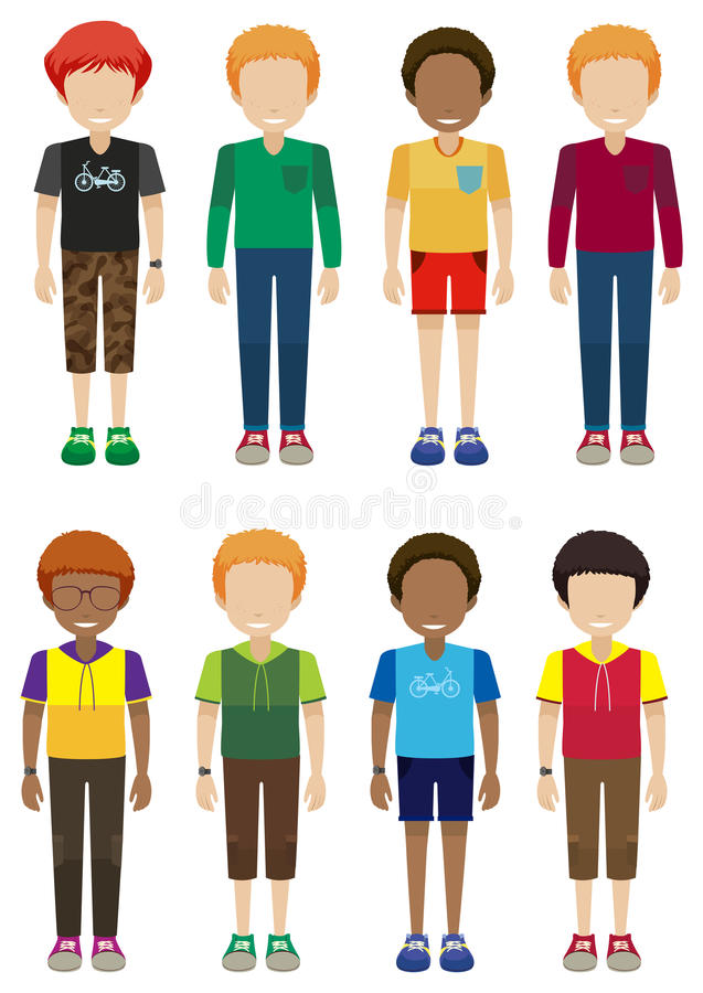 Faceless male teenagers. On a white background stock illustration