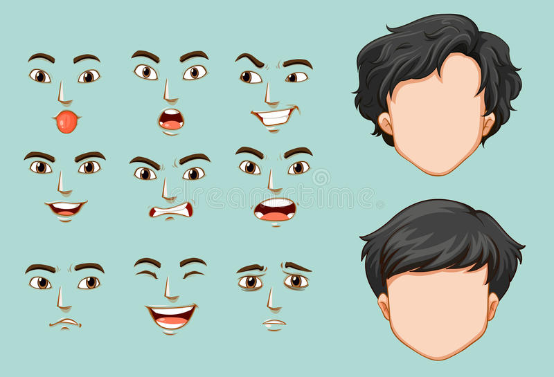 Faceless man and different faces with emotions. Illustration stock illustration