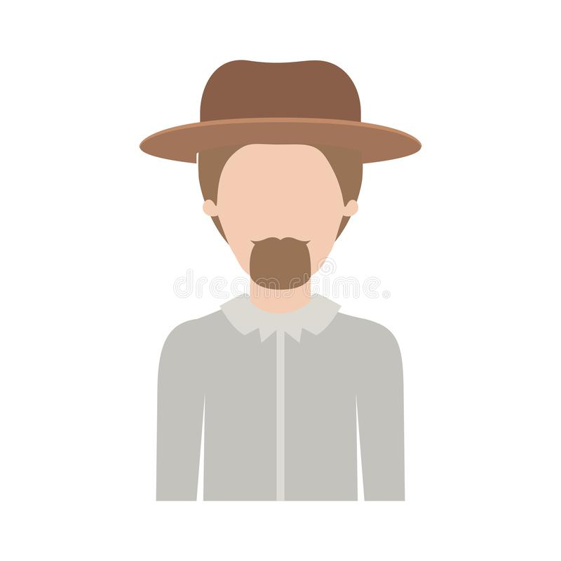 Faceless man half body with hat and shirt with short hair and goatee beard on colorful silhouette. Vector illustration vector illustration