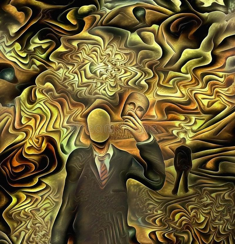 Faceless man. Surreal painting. Faceless man in suit holds mask in hand. Human elements were created with 3D software and are not from any actual human stock illustration