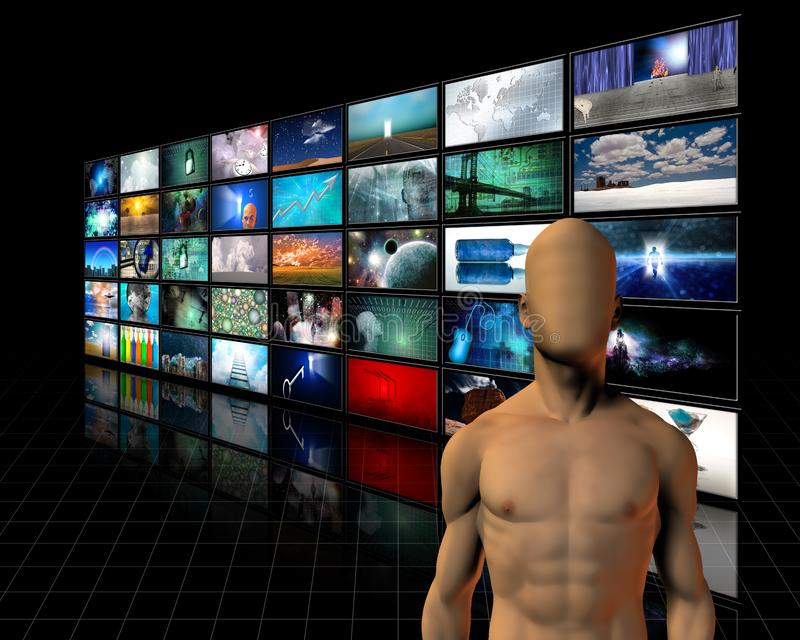 Faceless man before video screens. Human elements were created with 3D software and are not from any actual human likenesses. This image created in entirety by stock illustration