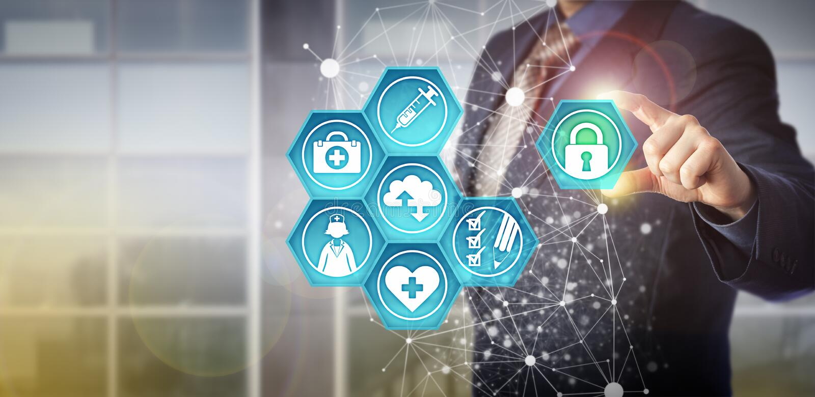 Faceless Manager Adding Padlock To Health Care IT. Faceless businessman plugging virtual padlock into health care IT interface. Technology concept for healthcare stock images