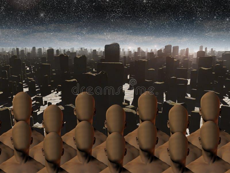 Faceless masses before ruins. High Resolution Faceless masses before ruins vector illustration