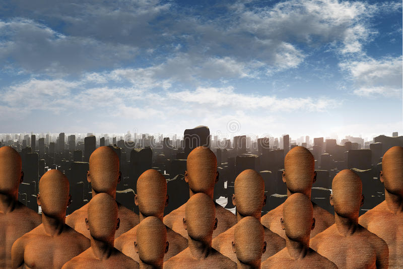 Faceless masses before ruins. High Resolution 3D Illustration Faceless masses before ruins vector illustration