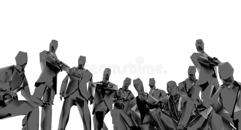 Faceless crowd. Crowd of anonymous business people royalty free illustration