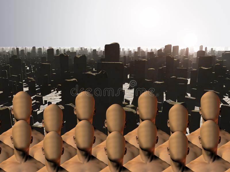 Faceless masses before ruins. Faceless men crowd before ruins. Human elements were created with 3D software and are not from any actual human likenesses vector illustration
