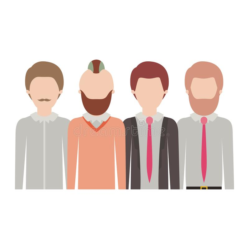 Faceless men in half body with casual clothes with short hair and some with beard and moustache in colorful silhouette stock illustration