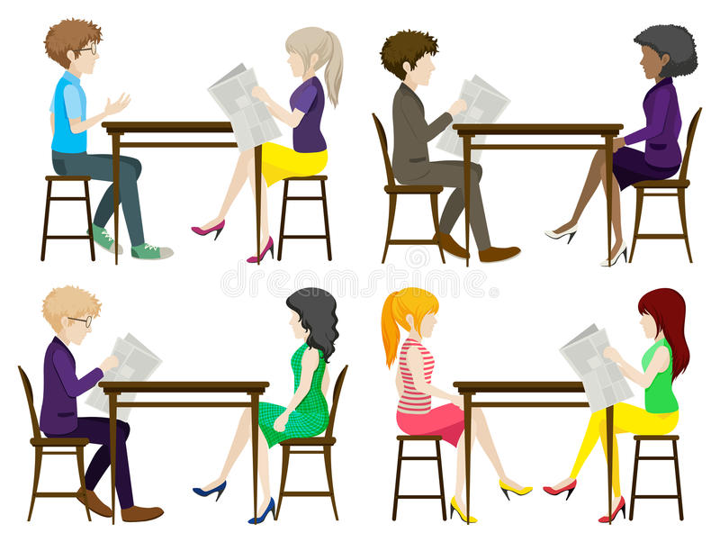 Faceless people discussing at the table. On a white background royalty free illustration