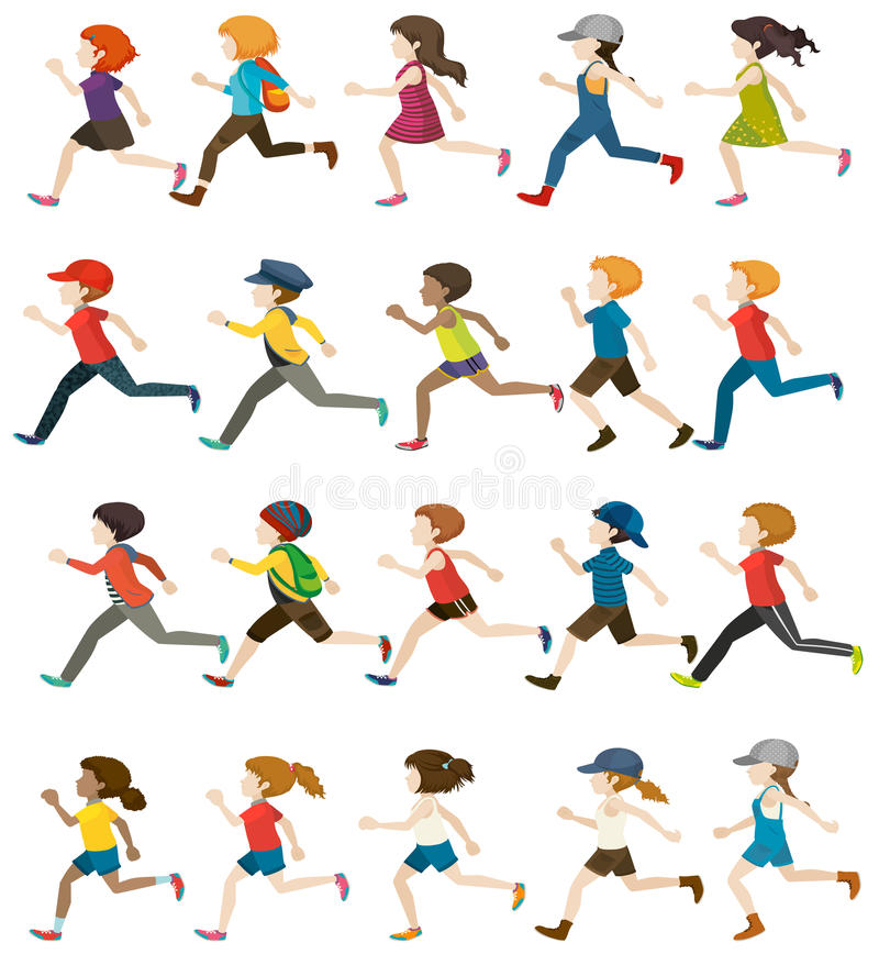 Faceless people running. On a white background royalty free illustration