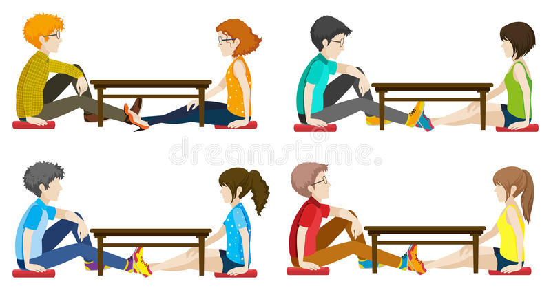 Faceless people sitting across each other. On a white background royalty free illustration