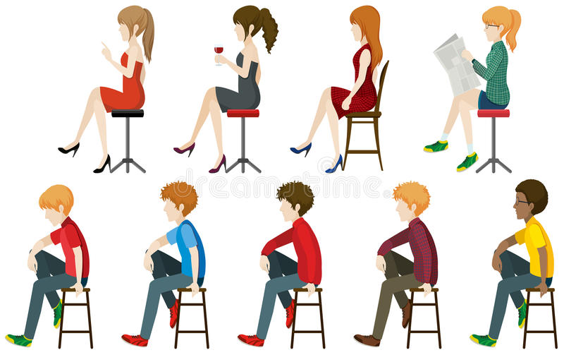 Faceless people sitting on a stall. On a white background royalty free illustration