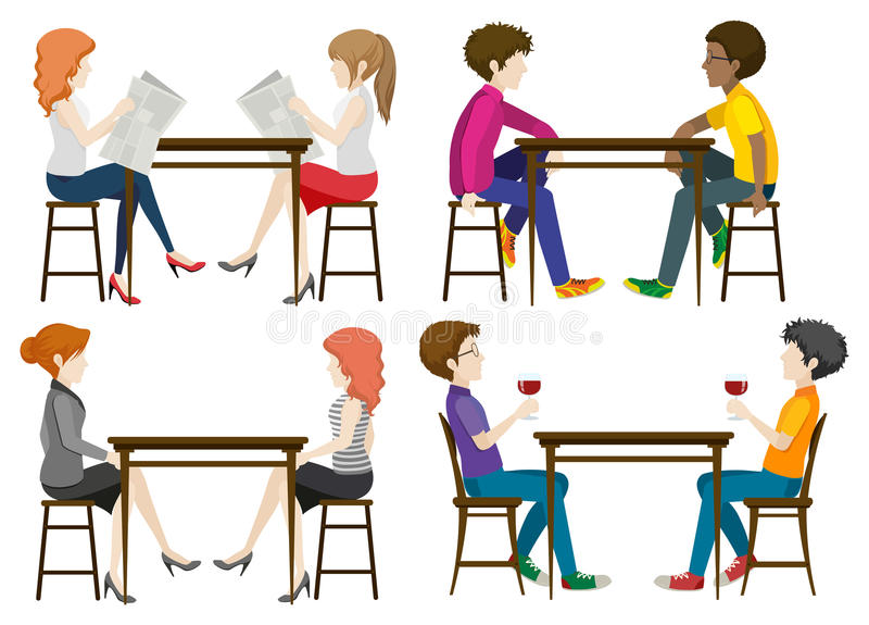 Faceless people at the table. On a white background royalty free illustration