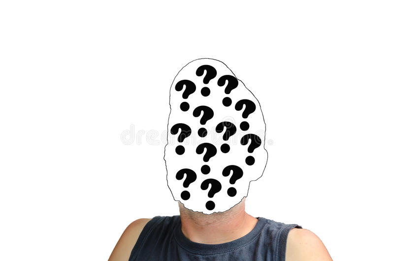 Faceless person with question sign royalty free stock photos