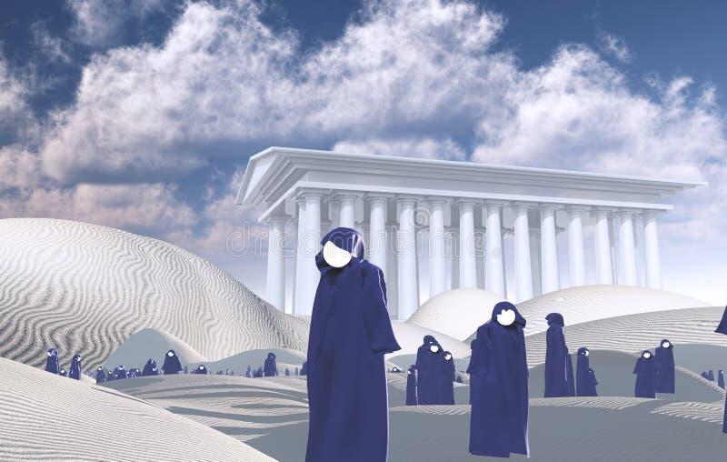 Faceless pilgrims stock illustration