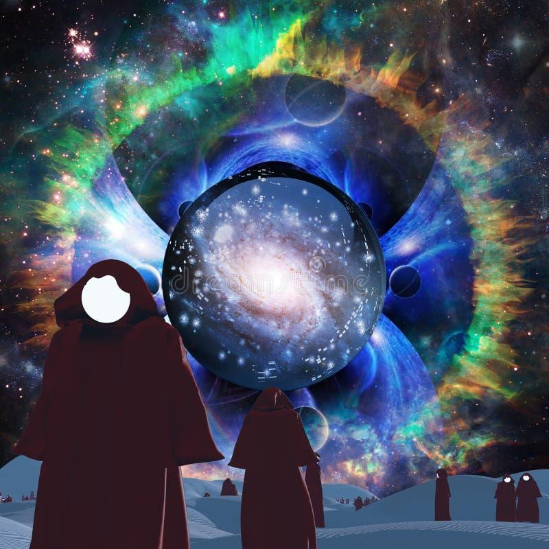 Faceless pilgrims. Surreal desert. Faceless pilgrims in cloaks. Galaxy in crystal ball vector illustration