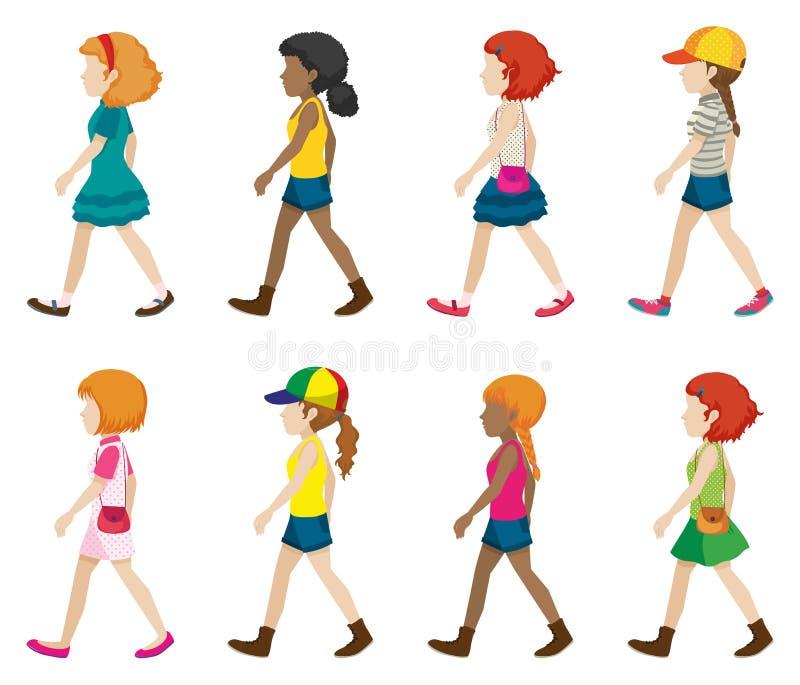 Faceless. Set of faceless girls in walking pose royalty free illustration