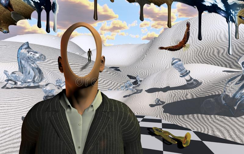 Faceless. Surreal desert with chess figures and trumpet. Faceless man in suit. Figure of man in a distance. Eagle flies. Another dimension flows down. Human stock illustration