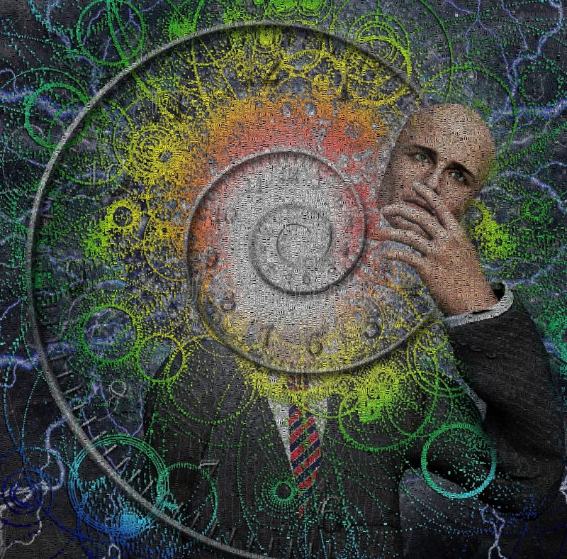 Faceless time. Faceless man and Spiral of time. Human elements were created with 3D software and are not from any actual human likenesses royalty free illustration