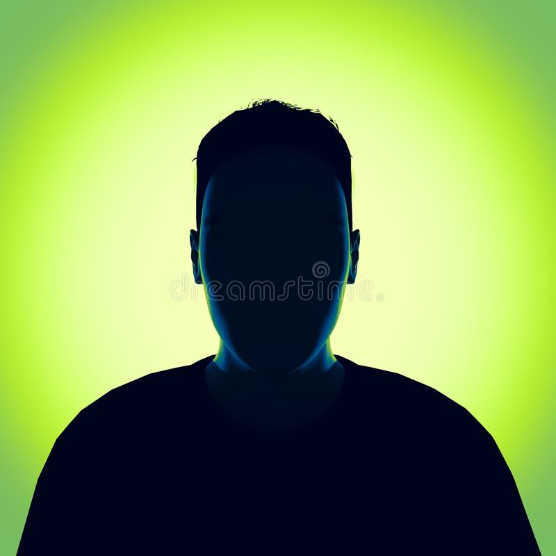 Faceless unknown person. 3d render. 3d render of a faceless unknown person with green background royalty free illustration