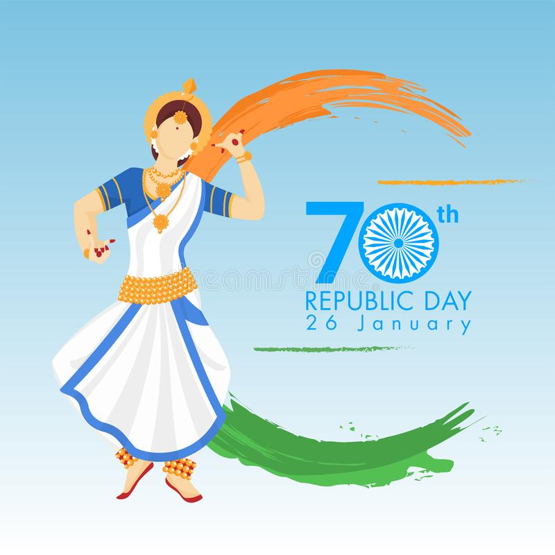 Faceless woman character doing classical dance with saffron and green brush stroke effect for 70th Republic Day. stock illustration