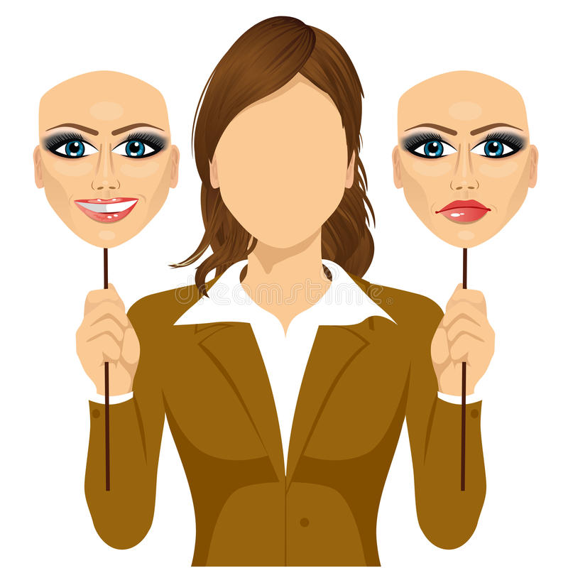 Faceless woman holding happy and angry mask. Faceless woman holding a happy and angry mask in her hands. Concept of hypocrisy vector illustration