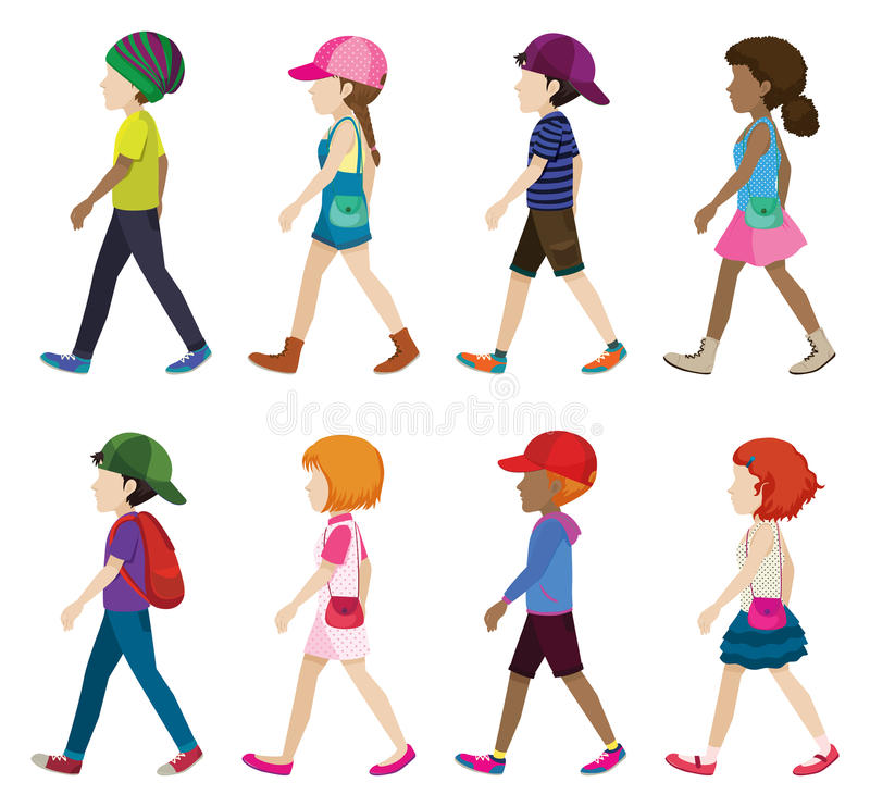 Faceless young girls and boys walking. On a white background vector illustration