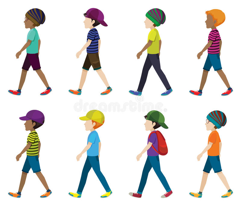 Faceless young men walking. On a white background vector illustration