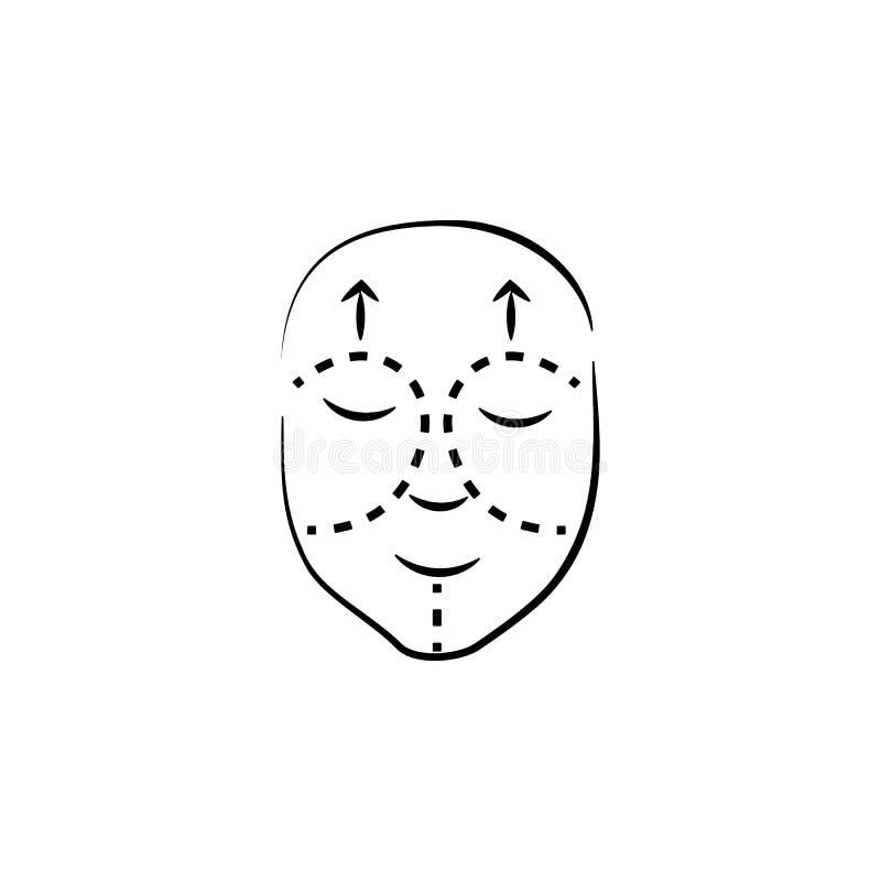 Faceliftsymbol Beståndsdel av den anti-åldras symbolen för mobila begrepps- och rengöringsdukapps Den tunna linjen faceliftsymbol vektor illustrationer