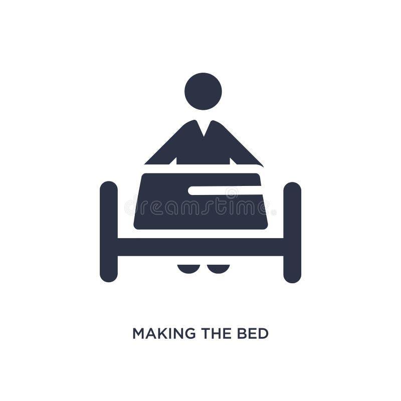 facendo l'icona del letto sul fondo bianco Illustrazione semplice dell'elemento dal concetto di comportamento illustrazione vettoriale