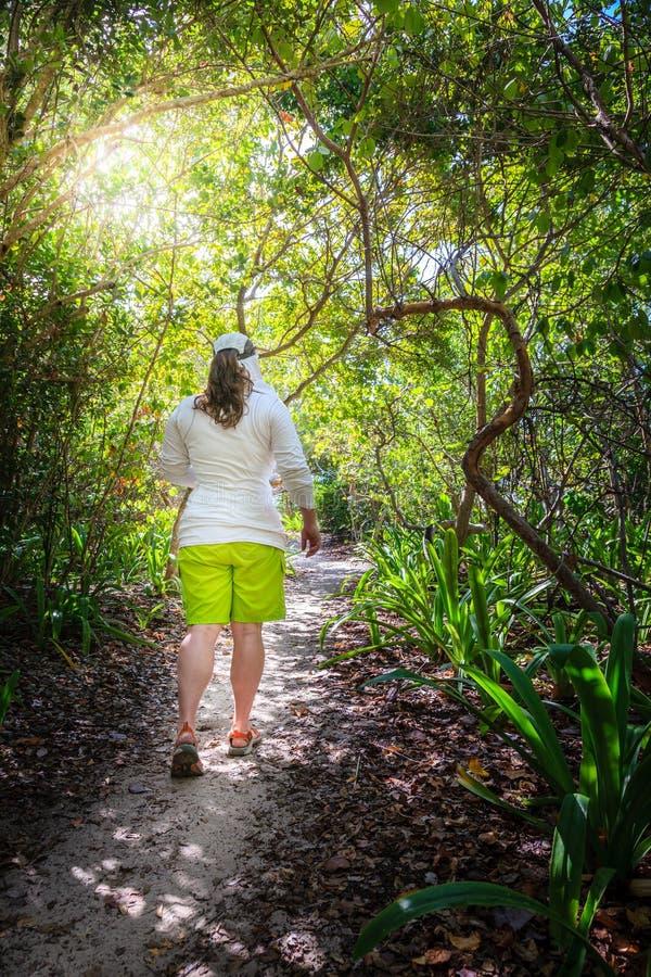 Facendo un'escursione attraverso la foresta tropicale immagine stock libera da diritti