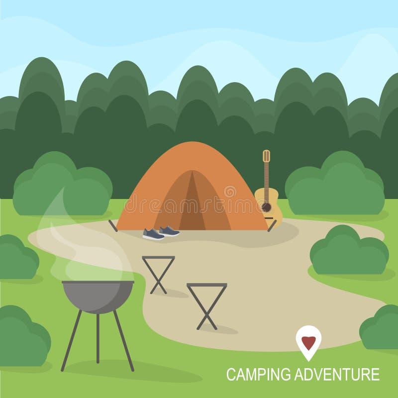 Facendo un'escursione e concetto all'aperto di ricreazione con le icone di campeggio piane di viaggio Illustrazione di vettore illustrazione di stock