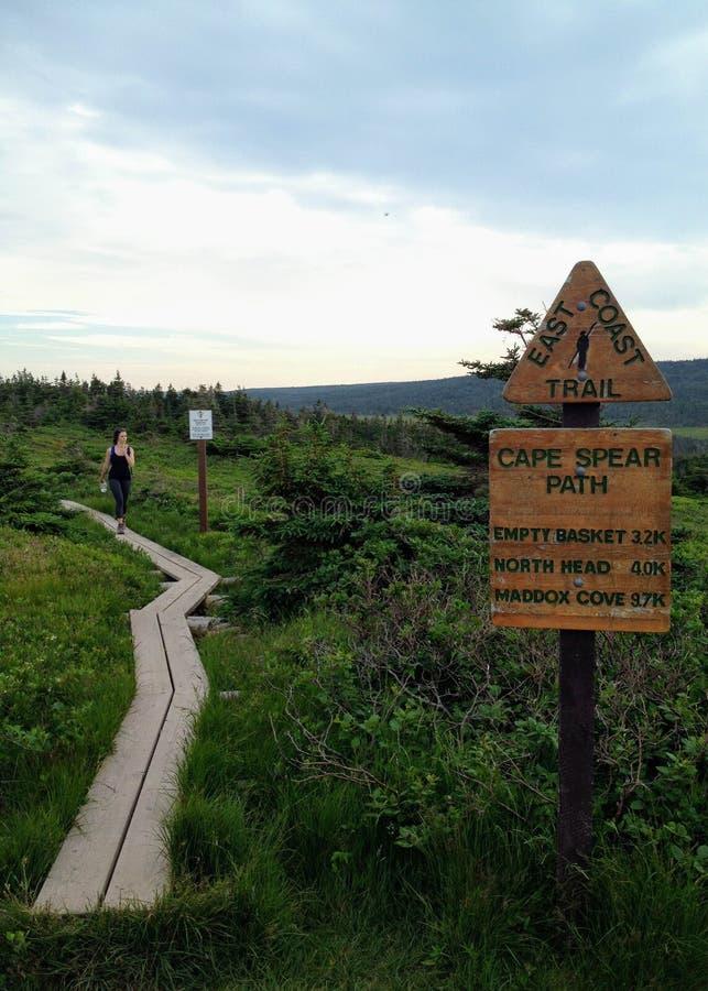 Facendo un'escursione lungo la sezione del percorso della lancia del capo della traccia della costa Est immagini stock libere da diritti