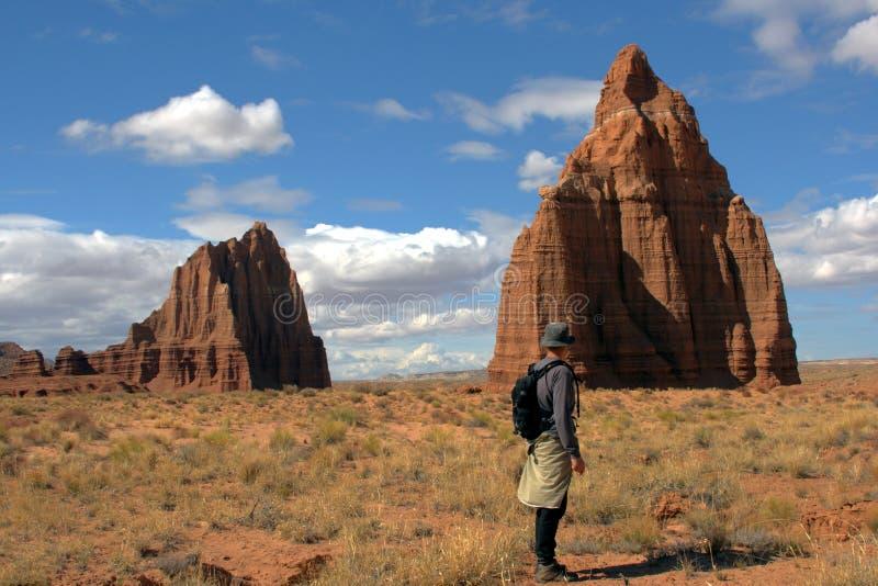 Facendo un'escursione nel deserto immagine stock