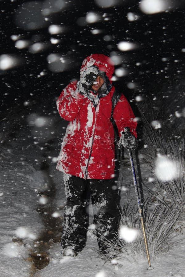 Facendo un'escursione nella bufera di neve fotografie stock libere da diritti