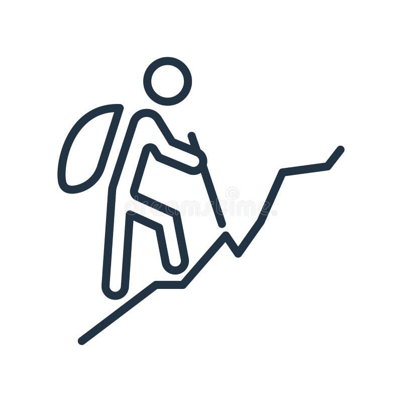 Facendo un'escursione vettore dell'icona isolato su fondo bianco, facente un'escursione segno illustrazione di stock