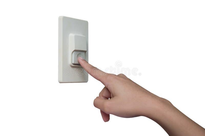 Facendo uso del dito per premere il cicalino domestico immagini stock