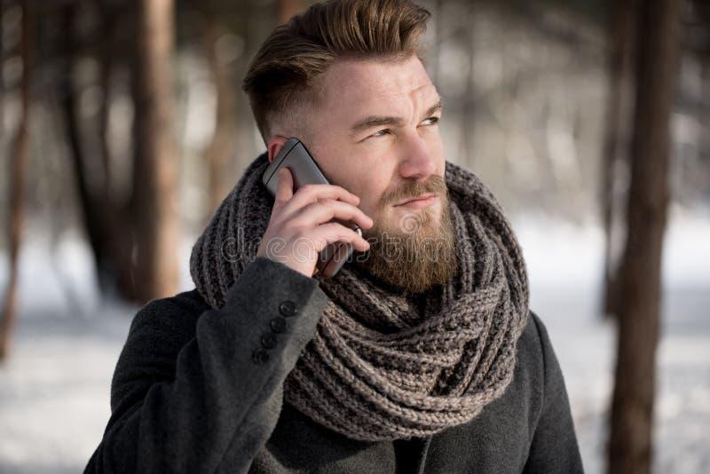Facendo uso del telefono nell'inverno fotografie stock