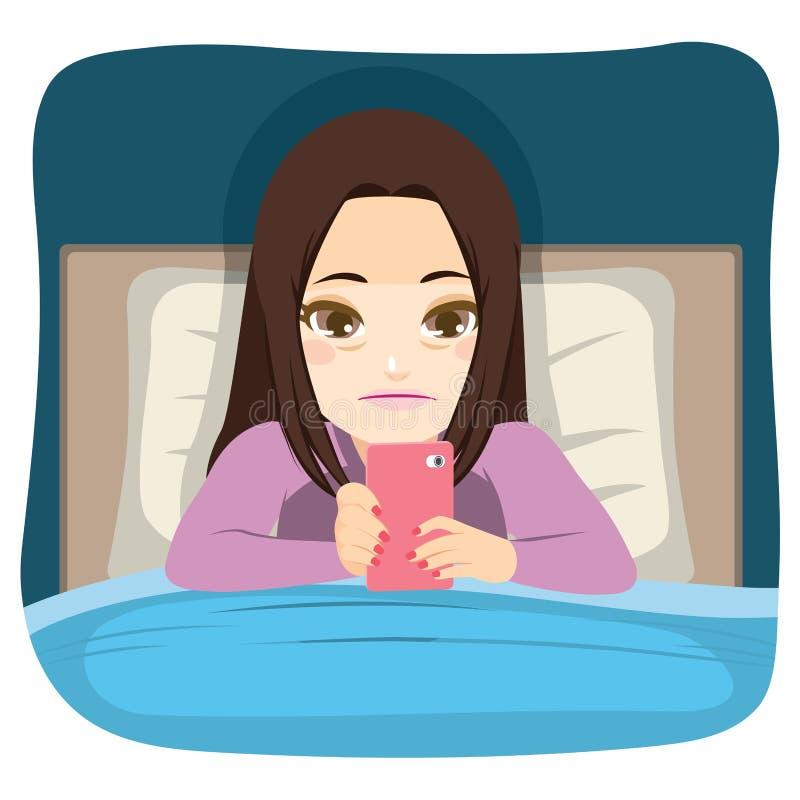 Facendo uso di Smartphone a letto illustrazione di stock