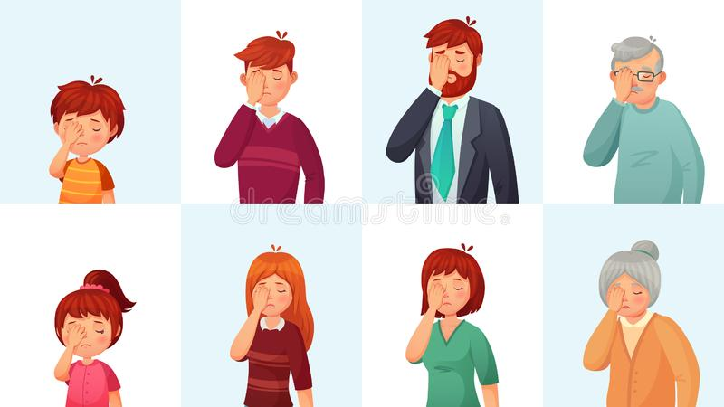 Facepalm gesture. Disappointed people embarrassed faces, hide face behind palm and shame gestures cartoon vector. Facepalm gesture. Disappointed people stock illustration