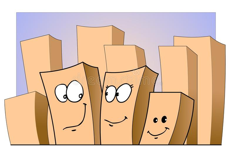 Faces. Cartoon town and buildings with faces royalty free illustration