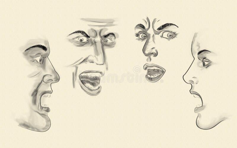 Faces ilustração stock